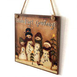 Christmas Snowmen Pattern Door Decor Wooden Hanging Sign -