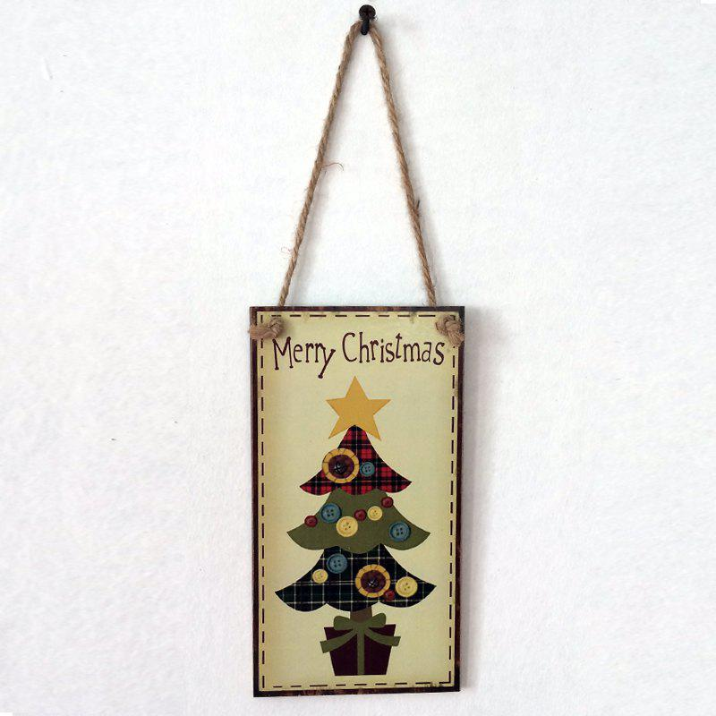 Christmas Tree Pattern Door Decor Wooden Hanging SignHOME<br><br>Color: BUTTERCUP; Event &amp; Party Item Type: Party Decoration; Occasion: Christmas; Size(L*W)(CM): 20.3*11*0.5cm; Weight: 0.1160kg; Package Contents: 1 x Wooden Sign;