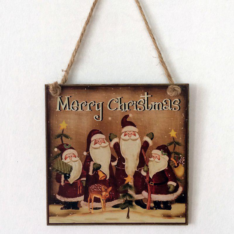 Christmas Santa Pattern Door Decor Wooden Hanging SignHOME<br><br>Color: BROWN; Event &amp; Party Item Type: Party Decoration; Occasion: Christmas; Size(L*W)(CM): 15*15*0.5cm; Weight: 0.1200kg; Package Contents: 1 x Wooden Sign;