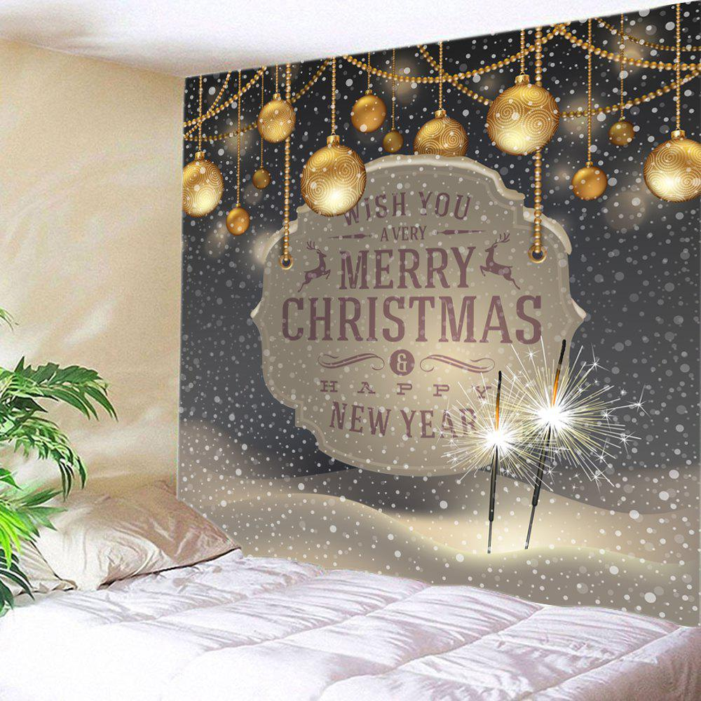 Christmas Firework Baubles Print Tapestry Wall Hanging Art DecorationHOME<br><br>Size: W79 INCH * L59 INCH; Color: COLORMIX; Style: Festival; Theme: Christmas; Material: Polyester; Feature: Washable; Shape/Pattern: Ball,Letter,Snow; Weight: 0.3000kg; Package Contents: 1 x Tapestry;