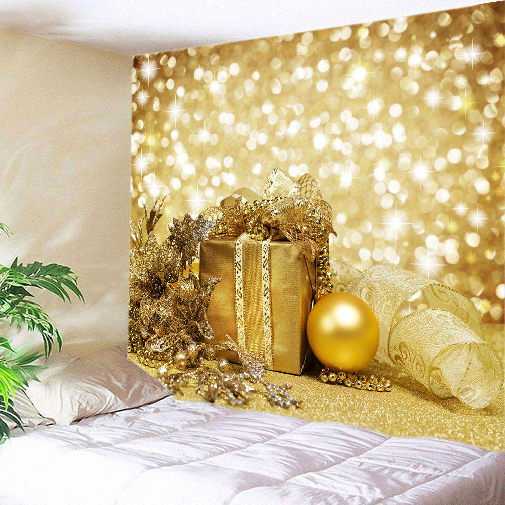 Christmas Gift Bauble Print Tapestry Wall Hanging Art DecorationHOME<br><br>Size: W91 INCH * L71 INCH; Color: GOLDEN; Style: Festival; Theme: Christmas; Material: Polyester; Feature: Washable; Shape/Pattern: Ball,Gift; Weight: 0.4000kg; Package Contents: 1 x Tapestry;