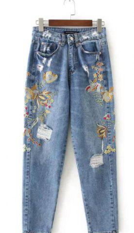 Cheap Distressed Floral Embroidered Jeans BLUE XL