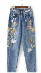 Distressed Floral Embroidered Jeans - BLUE XL