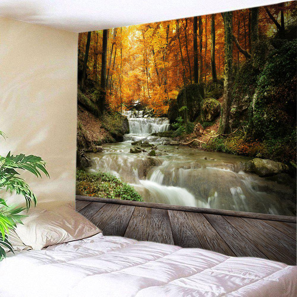 Maple Forest Stream Print Tapestry Wall Hanging Art DecorationHOME<br><br>Size: W91 INCH * L71 INCH; Color: YELLOW; Style: Natural; Theme: Landscape; Material: Polyester; Feature: Washable; Shape/Pattern: Forest; Weight: 0.4000kg; Package Contents: 1 x Tapestry;