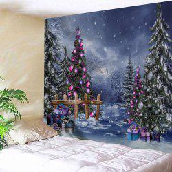 Christmas Tree Gift Box Printed Wall Tapestry - W91 Inch * L71 Inch