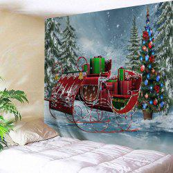 Pine Forest Christmas Sled Wall Tapestry - W91 Inch * L71 Inch