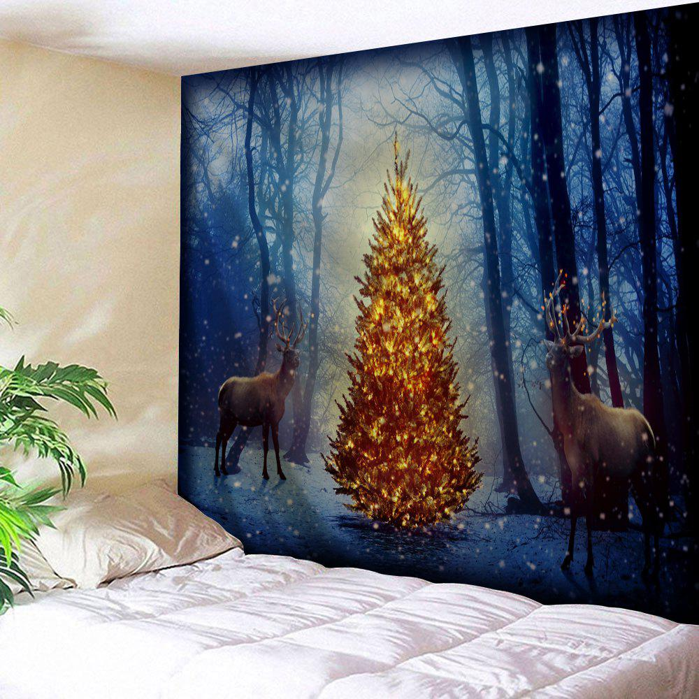 Christmas Tree Elk Misty Forest Wall TapestryHOME<br><br>Size: W79 INCH * L59 INCH; Color: BLUE; Style: Festival; Theme: Christmas; Material: Polyester; Feature: Removable,Washable; Shape/Pattern: Animal,Forest,Tree; Weight: 0.2700kg; Package Contents: 1 x Tapestry;