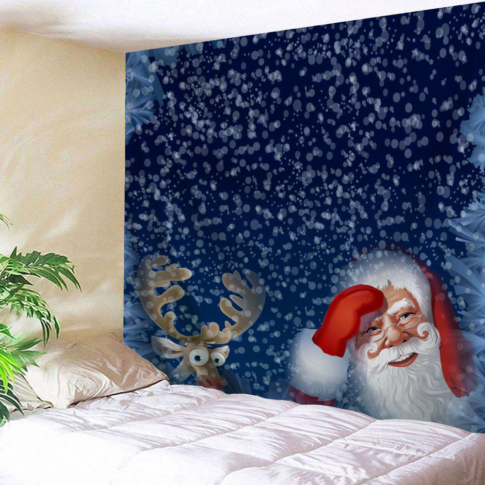 Wall Decor Christmas Elk Santa Claus TapestryHOME<br><br>Size: W91 INCH * L71 INCH; Color: BLUE; Style: Festival; Theme: Christmas; Material: Polyester; Feature: Removable,Washable; Shape/Pattern: Animal,Santa Claus; Weight: 0.3800kg; Package Contents: 1 x Tapestry;