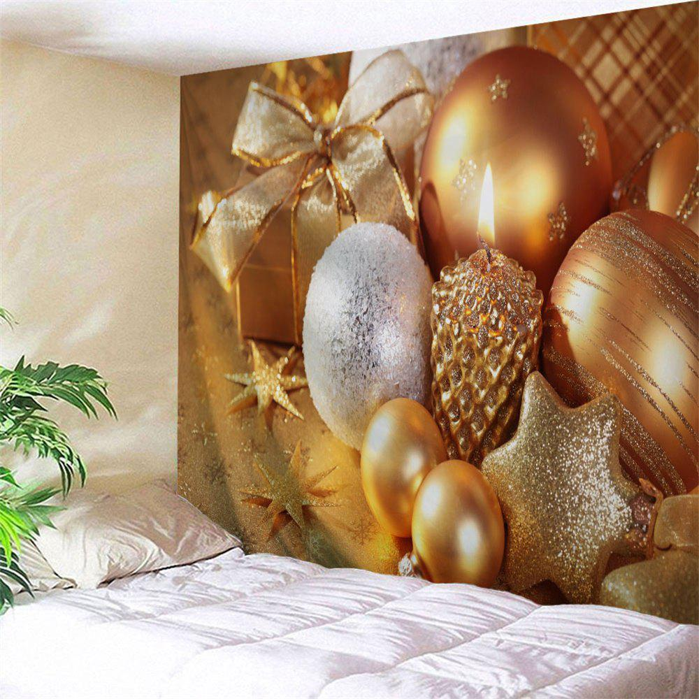 Wall Decor Christmas Candle Ornaments TapestryHOME<br><br>Size: W91 INCH * L71 INCH; Color: GOLDEN; Style: Festival; Theme: Christmas; Material: Polyester; Feature: Removable,Washable; Shape/Pattern: Candle; Weight: 0.3800kg; Package Contents: 1 x Tapestry;