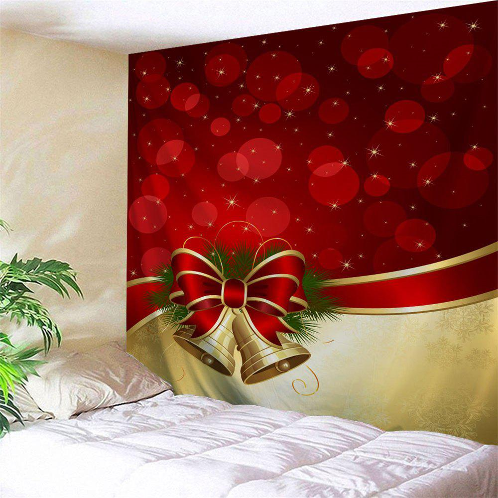 Wall Hanging Christmas Bowknot Bell TapestryHOME<br><br>Size: W79 INCH * L71 INCH; Color: RED; Style: Festival; Theme: Christmas; Material: Polyester; Feature: Removable,Washable; Shape/Pattern: Print; Weight: 0.3000kg; Package Contents: 1 x Tapestry;