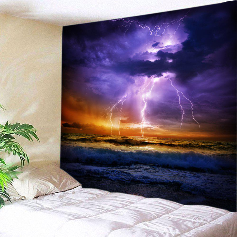 Lightning Ocean Print Tapestry Wall Hanging Art DecorationHOME<br><br>Size: W91 INCH * L71 INCH; Color: PURPLE; Style: Natural; Theme: Landscape; Material: Polyester; Feature: Washable; Shape/Pattern: Print; Weight: 0.4000kg; Package Contents: 1 x Tapestry;