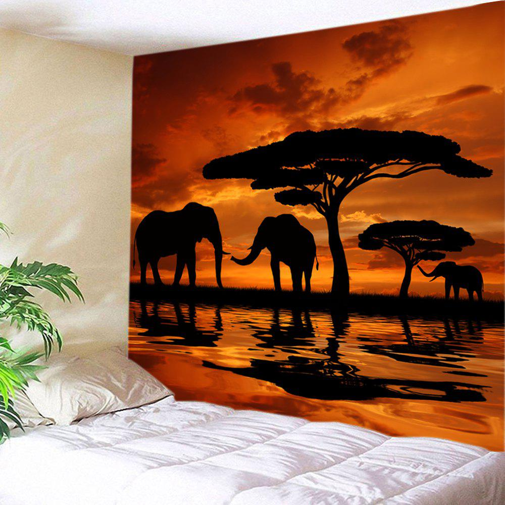 Sunset Prairies Elephants Print Tapestry Wall Hanging Art DecorationHOME<br><br>Size: W91 INCH * L71 INCH; Color: ORANGE; Style: Natural; Theme: Animals,Landscape; Material: Polyester; Feature: Washable; Shape/Pattern: Animal,Tree; Weight: 0.4000kg; Package Contents: 1 x Tapestry;