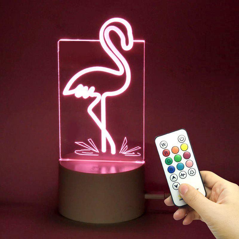 Color Changing Flamingo Shape Remote Control Night LightHOME<br><br>Color: TRANSPARENT; Products Type: Novelty Lighting; Materials: Acrylic, ABS; Style: Novelty; Occasion: Halloween,Home,Office &amp; Career,Party Supplies; Weight: 0.2640kg; Package Contents: 1 x Lamp Base 1 x Acrylic Plate 1 x USB Cable 1 x Remote Controller;