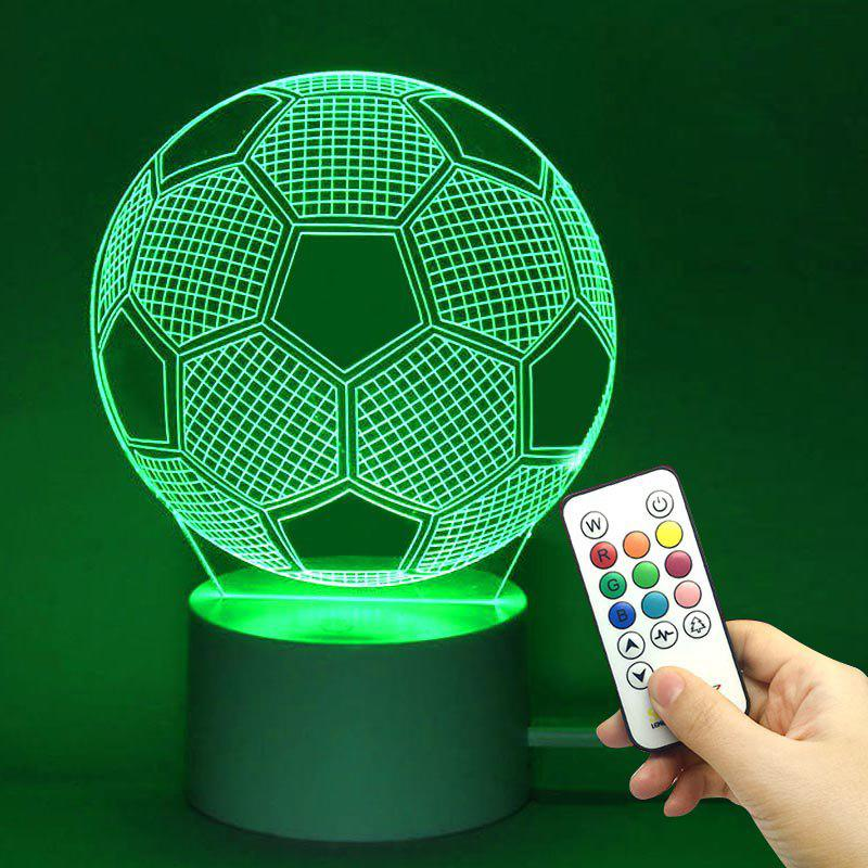 LED Remote Control Football Shape 3D Colorful LightHOME<br><br>Color: TRANSPARENT; Products Type: Novelty Lighting; Materials: Acrylic, ABS; Style: Novelty; Occasion: Halloween,Home,Office &amp; Career,School; Weight: 0.2640kg; Package Contents: 1 x Lamp Base 1 x Acrylic Plate 1 x USB Cable 1 x Remote Controller;