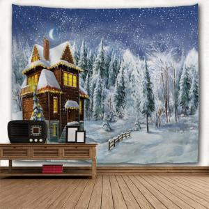 Christmas Snowy Forest House Print Tapestry Wall Hanging Art Décoration -