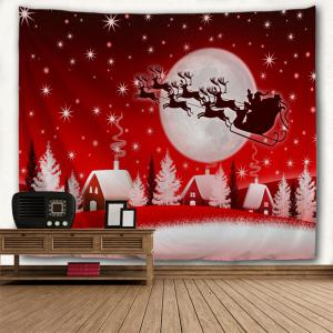 Christmas Sleigh Village Print Tapestry Wall Hanging Art Décoration -