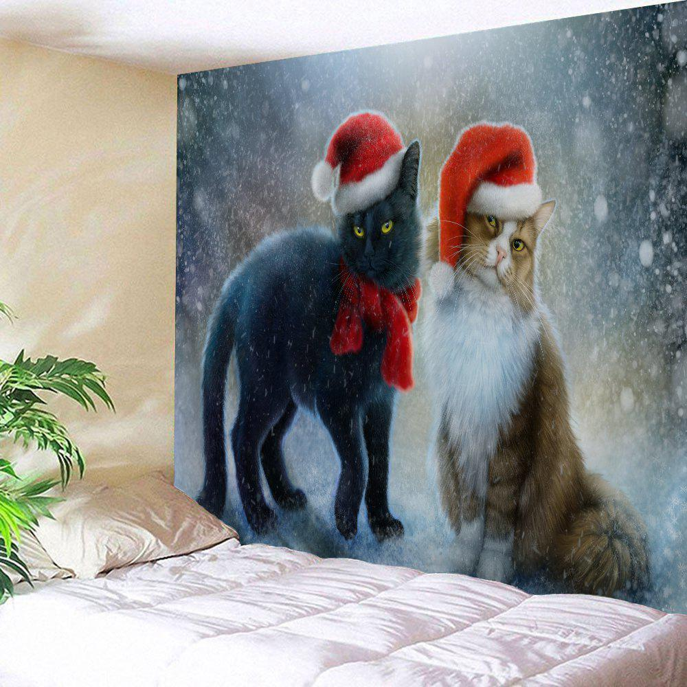 Christmas Hat Cats Print Tapestry Wall Hanging Art DecorationHOME<br><br>Size: W79 INCH * L59 INCH; Color: COLORMIX; Style: Festival; Theme: Christmas; Material: Polyester; Feature: Washable; Shape/Pattern: Animal; Weight: 0.2900kg; Package Contents: 1 x Tapestry;