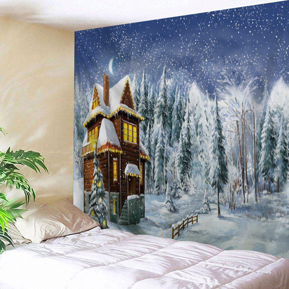 Christmas Snowy Forest House Print Tapestry Wall Hanging Art DecorationHOME<br><br>Size: W91 INCH * L71 INCH; Color: COLORMIX; Style: Festival; Theme: Christmas; Material: Polyester; Feature: Washable; Shape/Pattern: Forest,Tree; Weight: 0.4000kg; Package Contents: 1 x Tapestry;
