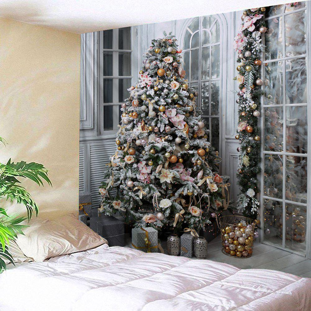 Christmas Tree Presents Print Tapestry Wall Hanging DecorationHOME<br><br>Size: W91 INCH * L71 INCH; Color: COLORMIX; Style: Festival; Theme: Christmas; Material: Polyester; Feature: Washable; Shape/Pattern: Gift,Tree; Weight: 0.4000kg; Package Contents: 1 x Tapestry;