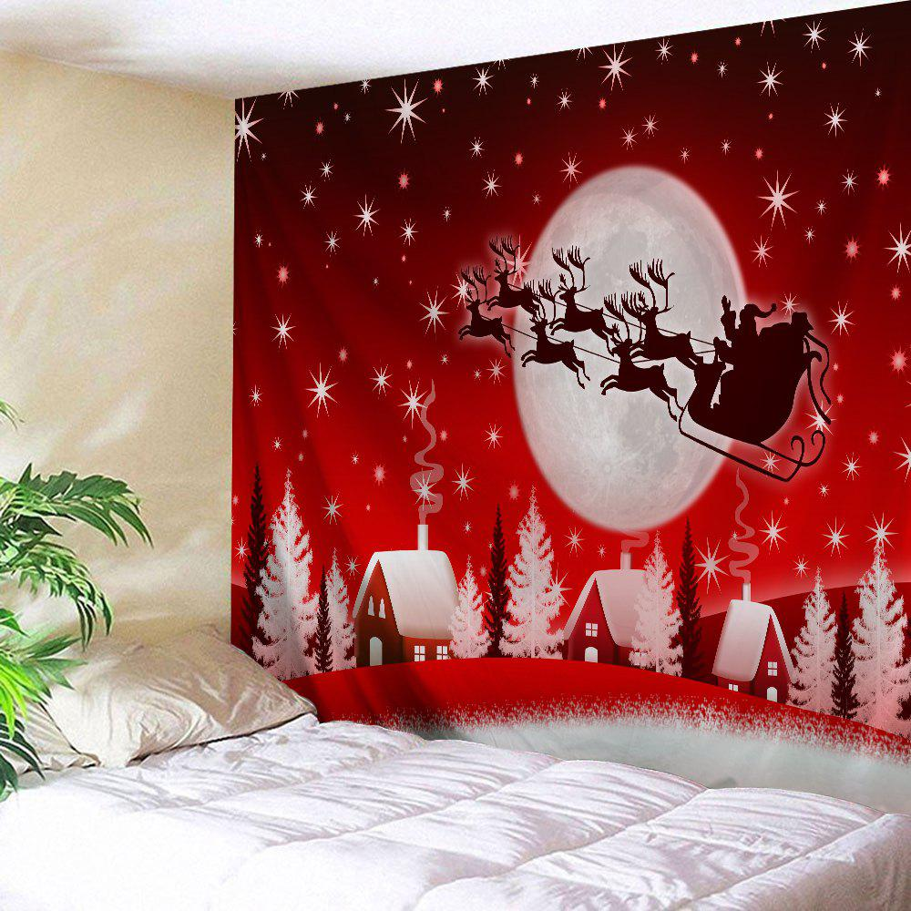 Christmas Sleigh Village Print Tapestry Wall Hanging Art DecorationHOME<br><br>Size: W91 INCH * L71 INCH; Color: RED; Style: Festival; Theme: Christmas; Material: Polyester; Feature: Washable; Shape/Pattern: Animal,Moon; Weight: 0.4000kg; Package Contents: 1 x Tapestry;