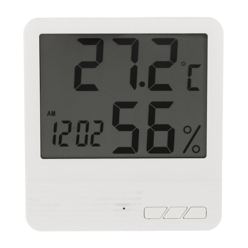 Indoor LCD Electronic Digital Thermometer Hygrometer ClockHOME<br><br>Color: WHITE; Operating temperature: -50 - 70 Deg.C; Operating Humidity: 10 - 99pct RH;