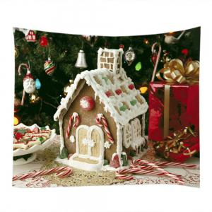 Christmas Tree House Print Tapestry Wall Hanging Art Decoration - WHITE W59 INCH * L51 INCH