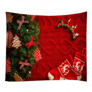 Christmas Tree Stockings Print Tapestry Wall Hanging Art Decoration -