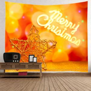 Christmas Wooden Star Print Tapestry Wall Hanging Art Decoration -