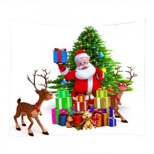 Christmas Tree Santa Gifts Print Tapestry Wall Hanging Art Decoration - COLORMIX W59 INCH * L51 INCH