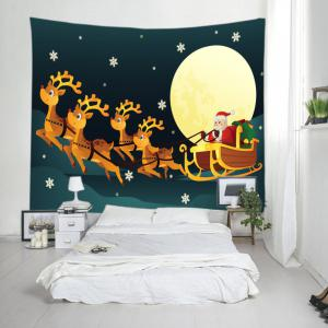 Christmas Moon Santa Sleigh Print Tapestry Wall Hanging Art Decoration - COLORMIX W59 INCH * L51 INCH