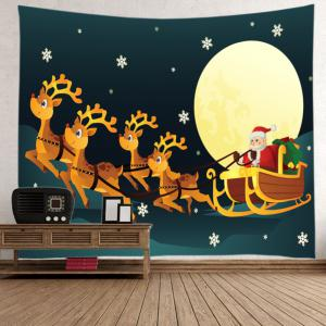 Christmas Moon Santa Sleigh Print Tapestry Wall Hanging Art Decoration - COLORMIX W79 INCH * L59 INCH