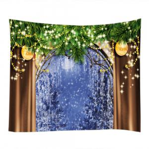 Christmas Tree Window Print Tapestry Wall Hanging Art Decoration - COLORMIX W79 INCH * L59 INCH