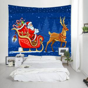 Santa Deer Sleigh Print Tapestry Wall Hanging Art Decoration - BLUE W59 INCH * L51 INCH