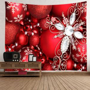 Christmas Rhinestone Baubles Print Tapestry Wall Hanging Art Decoration - RED W59 INCH * L59 INCH