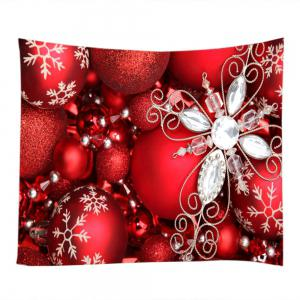 Christmas Rhinestone Baubles Print Tapestry Wall Hanging Art Decoration -
