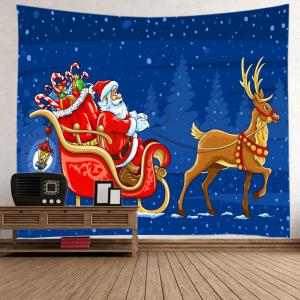 Santa Deer Sleigh Print Tapestry Wall Hanging Art Decoration - BLUE W79 INCH * L71 INCH