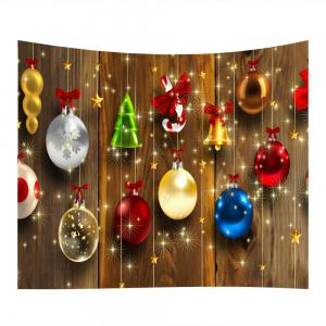 Woodgrain Christmas Baubles Print Tapestry Wall Hanging Art Decoration -