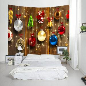 Woodgrain Christmas Baubles Print Tapestry Wall Hanging Art Decoration - COLORMIX W79 INCH * L71 INCH