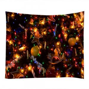 Christmas Tree Ornaments Print Tapestry Wall Hanging Art Decoration - COLORMIX W79 INCH * L71 INCH