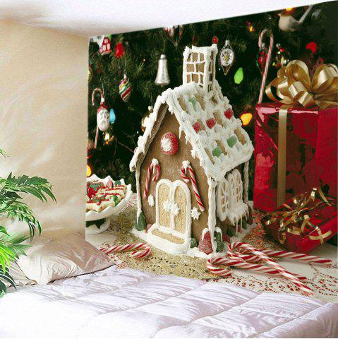 Buy Christmas Tree House Print Tapestry Wall Hanging Art Decoration - W59 INCH * L51 INCH WHITE Mobile
