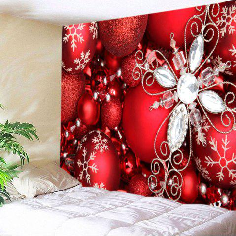 Outfits Christmas Rhinestone Baubles Print Tapestry Wall Hanging Art Decoration - W59 INCH * L59 INCH RED Mobile