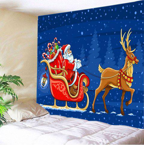 Online Santa Deer Sleigh Print Tapestry Wall Hanging Art Decoration - W91 INCH * L71 INCH BLUE Mobile