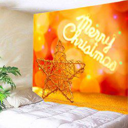 Christmas Wooden Star Print Tapestry Wall Hanging Art Decoration - MANDARIN W59 INCH * L51 INCH