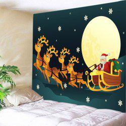 Christmas Moon Santa Sleigh Print Tapestry Wall Hanging Art Decoration - COLORMIX W91 INCH * L71 INCH