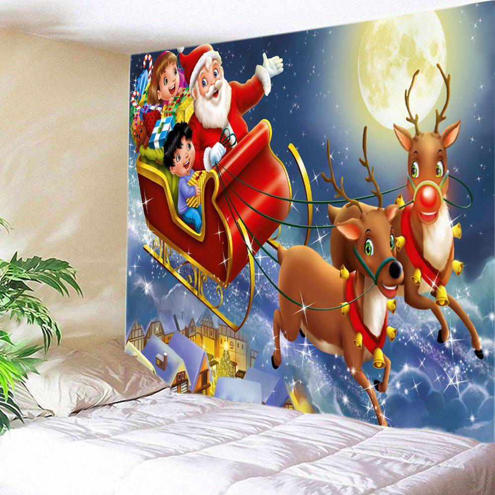 Christmas Moon Deer Sleigh Print Tapestry Wall Hanging Art DecorationHOME<br><br>Size: W59 INCH * L59 INCH; Color: RED; Style: Festival; Theme: Christmas; Material: Polyester; Feature: Washable; Shape/Pattern: Animal,Moon,Santa Claus; Weight: 0.3000kg; Package Contents: 1 x Tapestry;