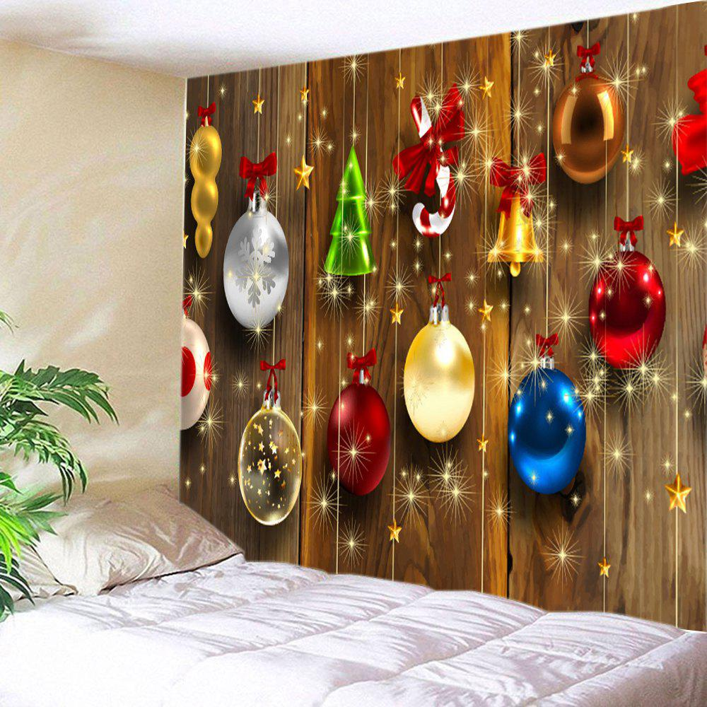 Woodgrain Christmas Baubles Print Tapestry Wall Hanging Art DecorationHOME<br><br>Size: W79 INCH * L59 INCH; Color: COLORMIX; Style: Festival; Theme: Christmas; Material: Polyester; Feature: Washable; Shape/Pattern: Ball,Wood; Weight: 0.3000kg; Package Contents: 1 x Tapestry;