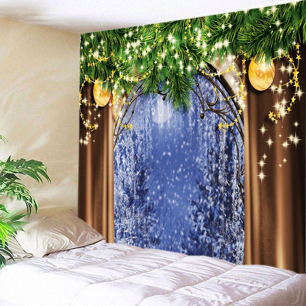 Christmas Tree Window Print Tapestry Wall Hanging Art DecorationHOME<br><br>Size: W91 INCH * L71 INCH; Color: COLORMIX; Style: Festival; Theme: Christmas; Material: Polyester; Feature: Washable; Shape/Pattern: Ball,Window; Weight: 0.4000kg; Package Contents: 1 x Tapestry;