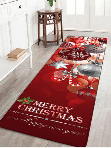 Cheap Christmas Ornaments Ball Print Nonslip Flannel Bath Rug