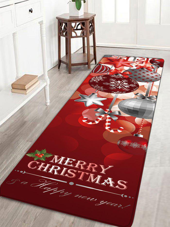 Christmas Ornaments Ball Print Nonslip Flannel Bath RugHOME<br><br>Size: W24 INCH * L71 INCH; Color: DARK RED; Products Type: Bath rugs; Materials: Flannel; Pattern: Ball,Letter; Style: Festival; Shape: Rectangular; Package Contents: 1 x Rug;