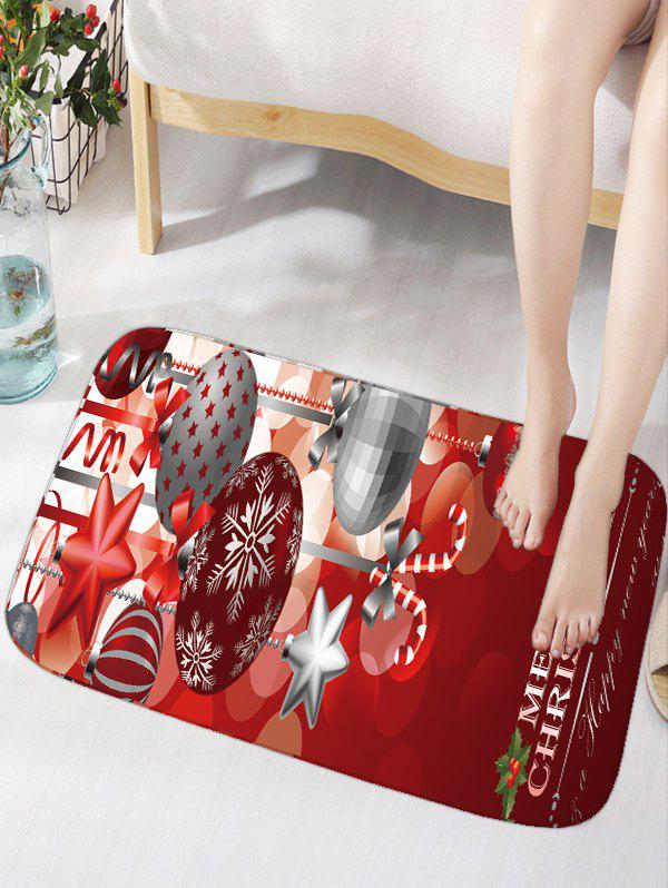 Christmas Ornaments Ball Print Nonslip Flannel Bath RugHOME<br><br>Size: W16 INCH * L24 INCH; Color: DARK RED; Products Type: Bath rugs; Materials: Flannel; Pattern: Ball,Letter; Style: Festival; Shape: Rectangular; Package Contents: 1 x Rug;